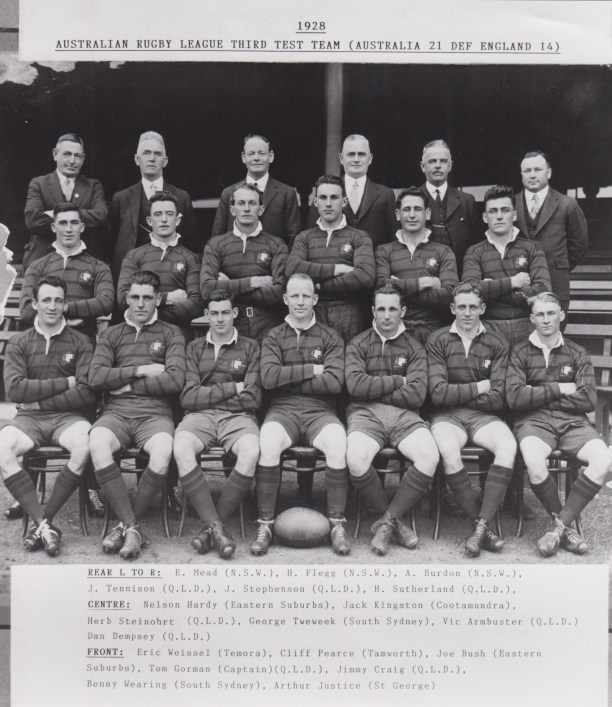 The Australian team that defeated England with Cootamundra locals Eric Weissel and Jack Kingston, plus the Grahamstown lad who wandered off to South Sydney - George Treweek/e