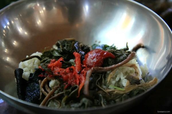 산ㅊ하ㅓ 비빔밮, sanchae bibimbap, root bibimbap, vegetarian foods in korea