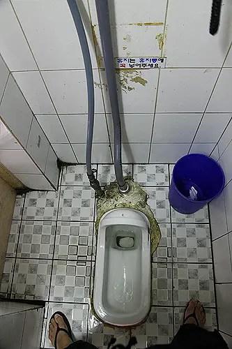 asian squat toilet in korean bus station
