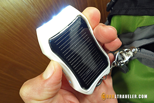Solar powered external battery charger with USB connection, earth-friendly charger review, travel technology and gadgets