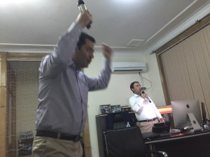 COO Javid (left) is suddenly upstaged by CEO Farshid after hours in the NETLINK Executive Office, Kabul, Afghanistan.