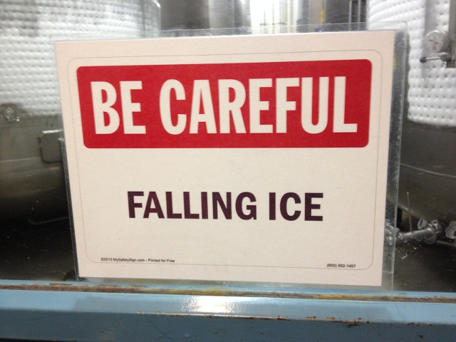 BE CAREFUL FALLING ICE