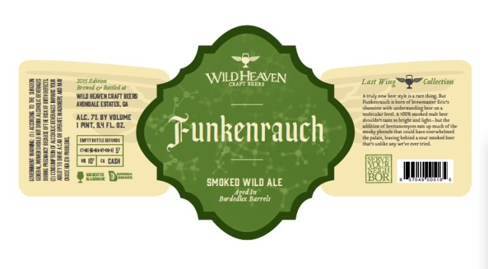 Wild Heaven Funkenraugh Smoked Wild Ale aged in Bordeaux barrels