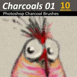 10 Photoshop Charcoal Brushes in one set