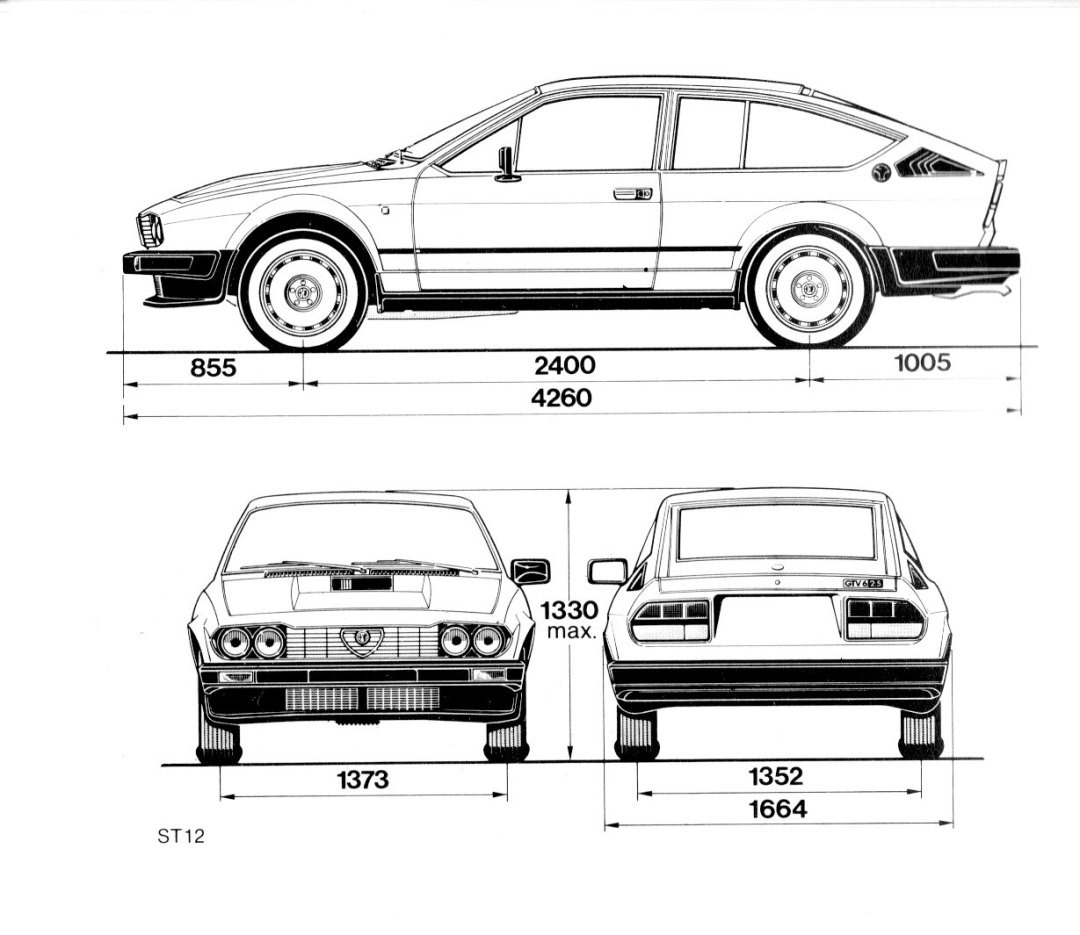 Alfa Romeo GTV6 méretek