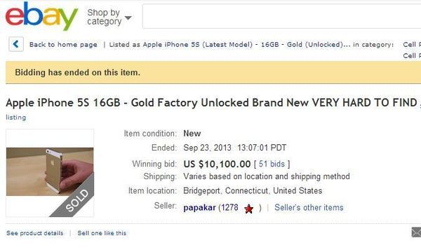 iPhone 5S Gold has sold for $10K on eBay's marketplace