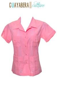 CU Short Sleeve Female Cadillac Pink Guayabera Front