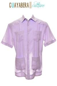CU Short Sleeve Lavender Guayabera Front
