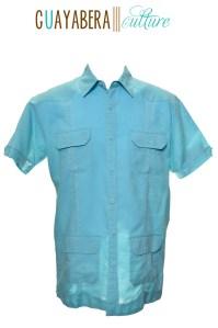 CU Short Sleeve Male Angel Blue Guayabera Front