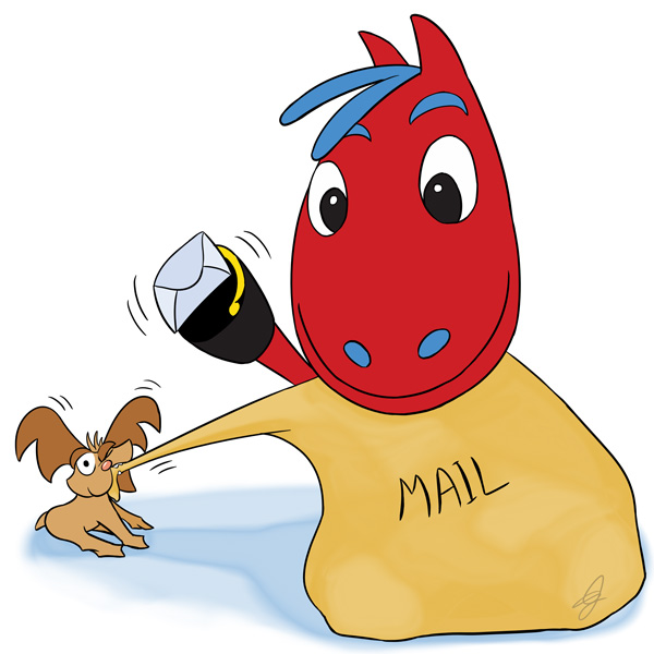 Dorse and Doose holding a mail bag - Contact GudFit Entertainment
