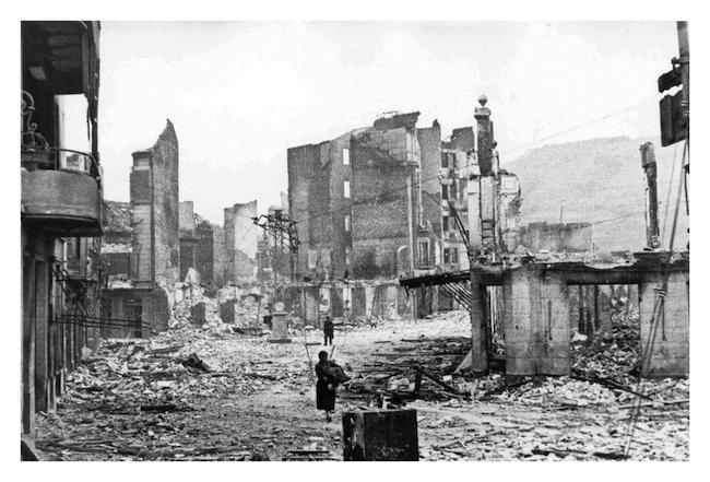 Spanish town of Guernica, after bombing 26 April 1937. Courtesy of World History Archive / Alamy
