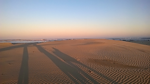 Evening walk on the beach. Hamburg, South Africa, July 2015. Photo: Nicola Ashmore.