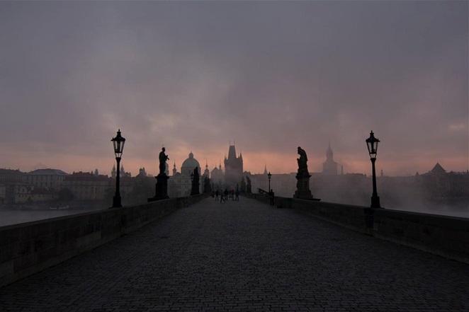 Charles Bridge Prague at Dusk