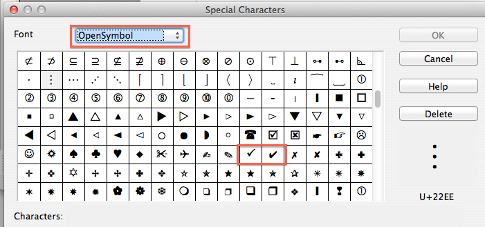 how to put a tick in word mac