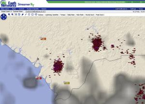 Very frequent lightning has triggered the issuance of Dangerous Thunderstorm Alerts (purple polygons) in this region.
