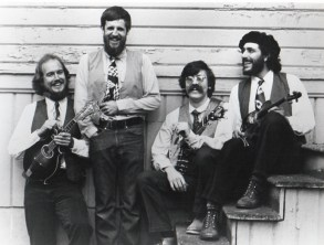 Hurricane Ridgerunners String Band circa 1981 - L to R: Paul Kotapish, Mark Graham, Jerry Gallaher, Armin Barnett