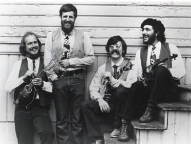 Hurricane Ridgerunners String Band circa 1981 - L to R: Paul Kotapish, Mark Graham, Jerry Gallaher, Armin Barnett