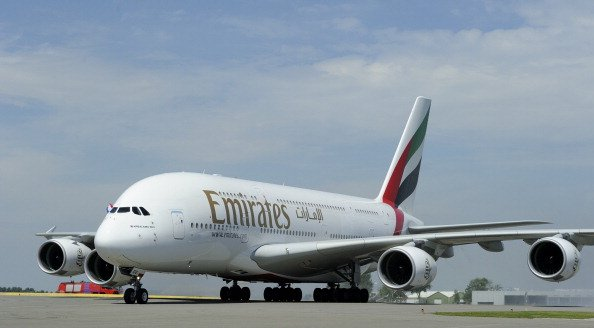 Emirates Airline's Airbus A380 lands for