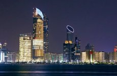 Modern architecture of Downtown Abu Dhabi at night