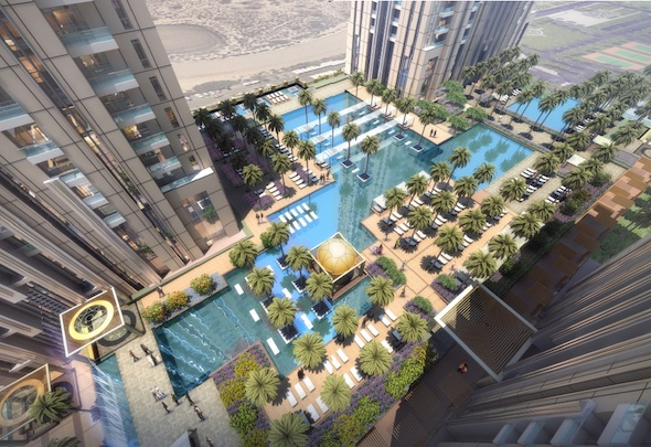 Alongside three previously announced hotels (St Regis, W Dubai and The Westin Dubai), the group today unveiled three residential towers containing 1,460 luxury apartments – swelling total investment to Dhs11 billion. The residential blocks will be developed by British architects WS Atkins.