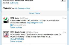 Twitter In GCC, Dubai Earthquake Frenzy