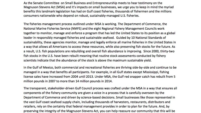 GSI Letter to Senate Committee on Small Business and Entrepreneurship