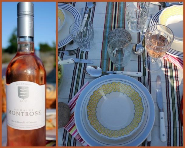Herlig rosé, som sommerlig dekket bord. Duken er en sarong fra Yemen.
