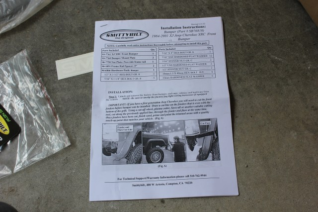 Smittybilt XJ XRC 76810 Instructions