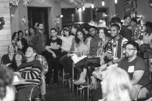 """At the inaugural """"Guys Reading Poems"""" open mic night."""