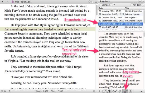 Snapshots in Scrivener