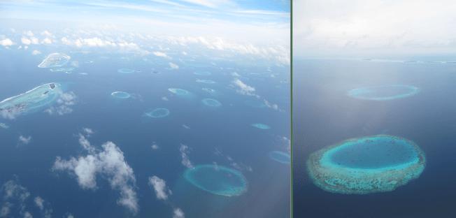Ariel View of Maldivian Atolls