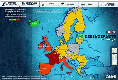 Carte Owni : liberté sur internet en Europe