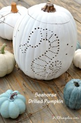 Coastal drilled pumpkin with a seahorse. Easy tutorial for real or faux pumpkins. H2OBungalow #Coastal #pumpkin