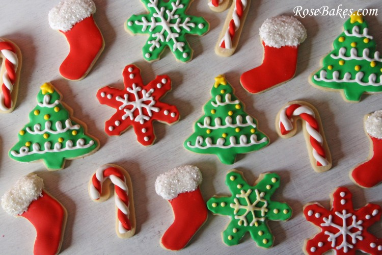 Christmas cookies trees candy canes stockings snowflakes