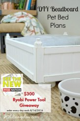Free DIY beadboard pet bed plans and Ryobi Power Tool Giveaway at H2OBungalow