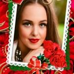 Fotomontaje de portaretrato con corazones y flores