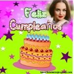 Fotomontaje de Feliz Cumpleaños con pastel