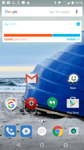Add an Onavo widget to a home screen and see your monthly data usage, as well as how much data you have remaining and when your billing cycle refreshes, at a glance