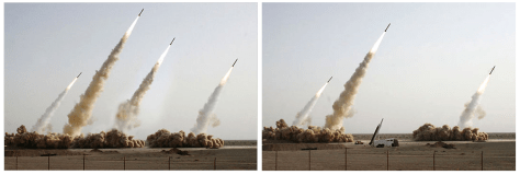 Faked Iranian missile test photo, via Fourandsix.com