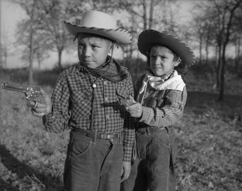 "Robert ""Corky"" and Linda Poolaw (Kiowa/Delaware), dressed up and posed for the photo by their father, Horace. Anadarko, Oklahoma, ca. 1947."