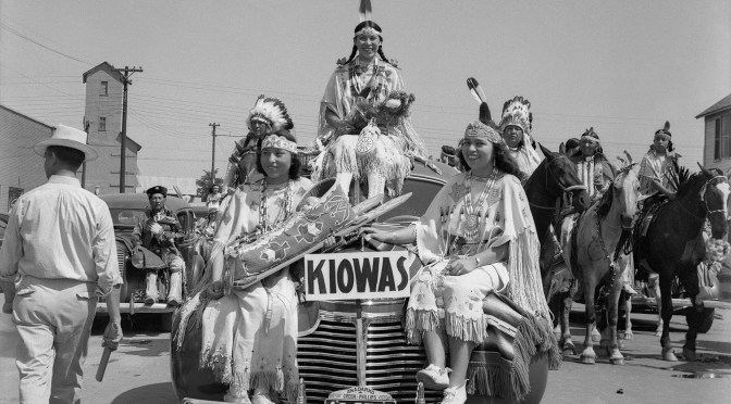 The American Indian Exposition parade. Anadarko, Oklahoma, 1941.