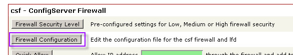 CSF Firewall Configuration