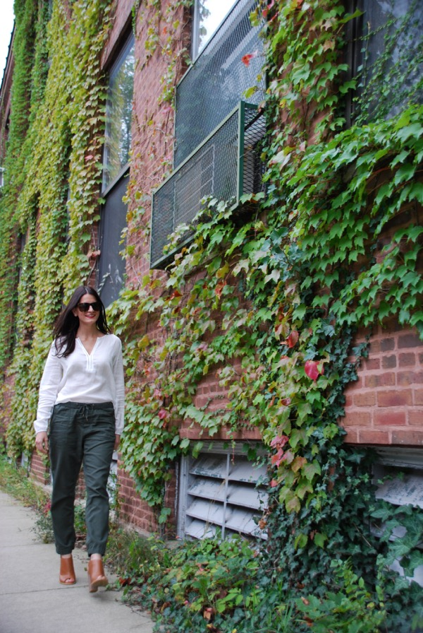 walking in front of ivy wall