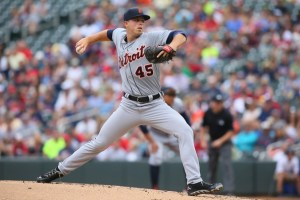Buck Farmer delivers a pitch during the first inning of a game against the Minnesota Twins at Target Field on August 23, 2014 (Adam Bettcher/Getty Images)
