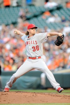 Jered Weaver throws a pitch during the second inning of a game against the Baltimore Orioles at Camden Yards on May 15, 2015 (Greg Fiume/Getty Images)