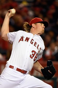 Jered Weaver delivers a pitch during a game against the Houston Astros at Angel Stadium on May 8, 2015 (Lisa Blumenfeld/Getty Images)