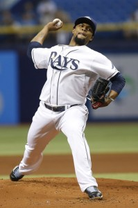 Alex Colome delivers a pitch during the first inning of a game against the Oakland A's at Tropicana Field on May 21, 2015 (Brian Blanco/Getty Images)