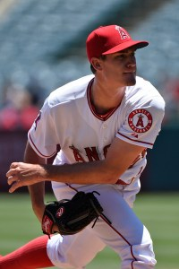Andrew Heaney delivers a pitch during the first inning of a game against the Houston Astros at Angel Stadium on June 24, 2015 (Lisa Blumenfeld/Getty Images)