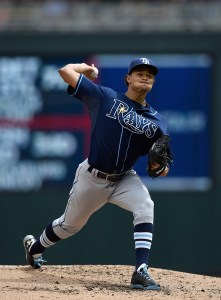 Chris Archer delivers a pitch during the 2nd inning of a game against the Minnesota Twins at Target Field on May 17, 2015 (Hannah Foslien/Getty Images)