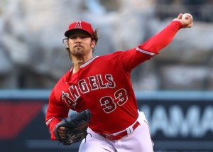 C.J. Wilson delivers a pitch during the 1st inning of a game against the Detroit Tigers at Angel Stadium on May 28, 2013 (Victor Decolongon/Getty Images)